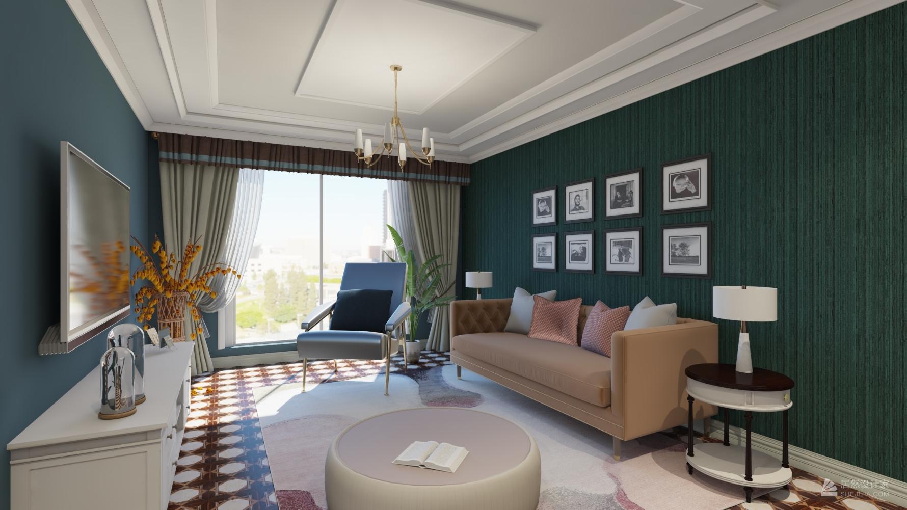 新古典风格两室一厅装修设计效果图