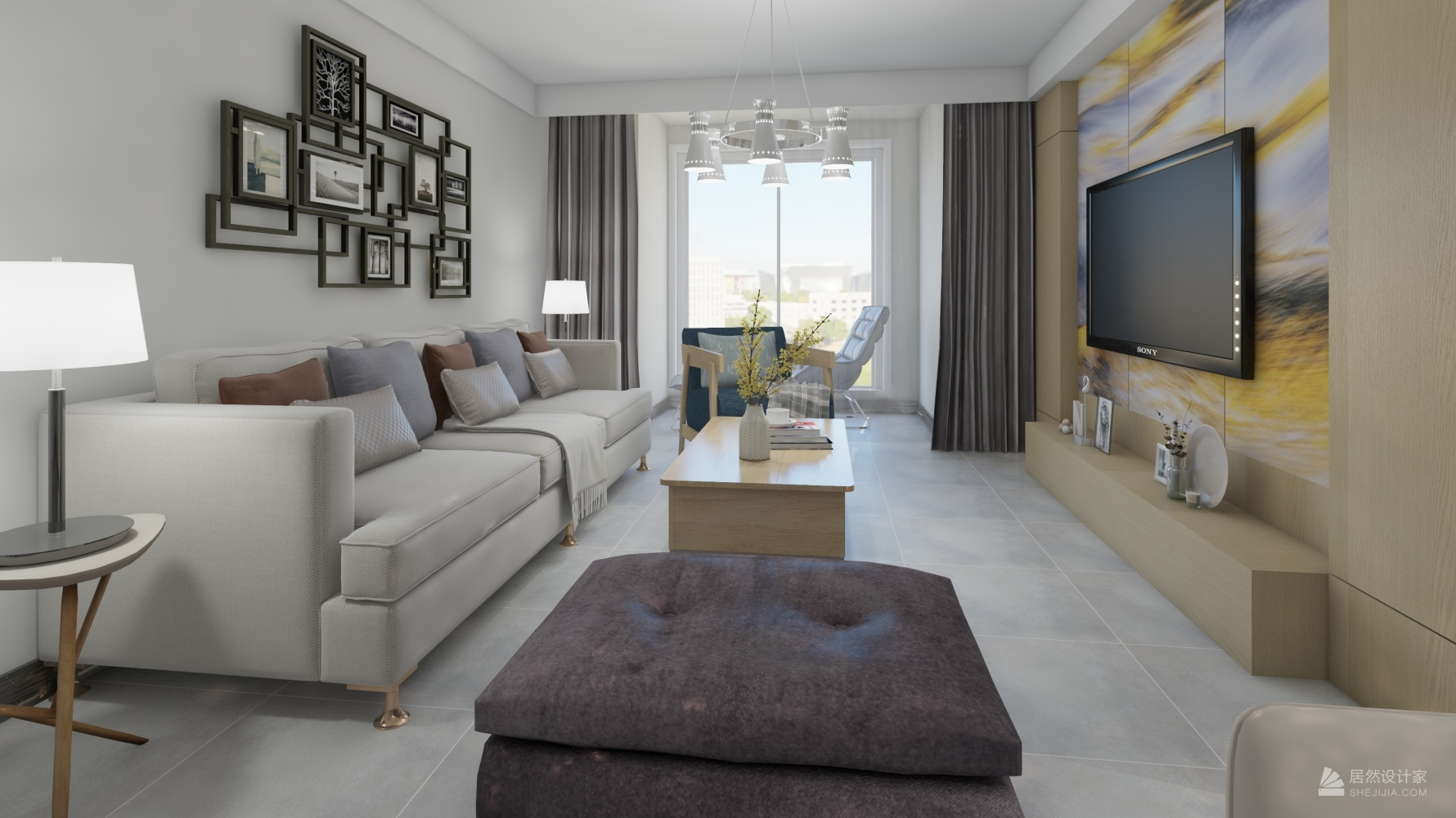 现代风格两室一厅装修设计图