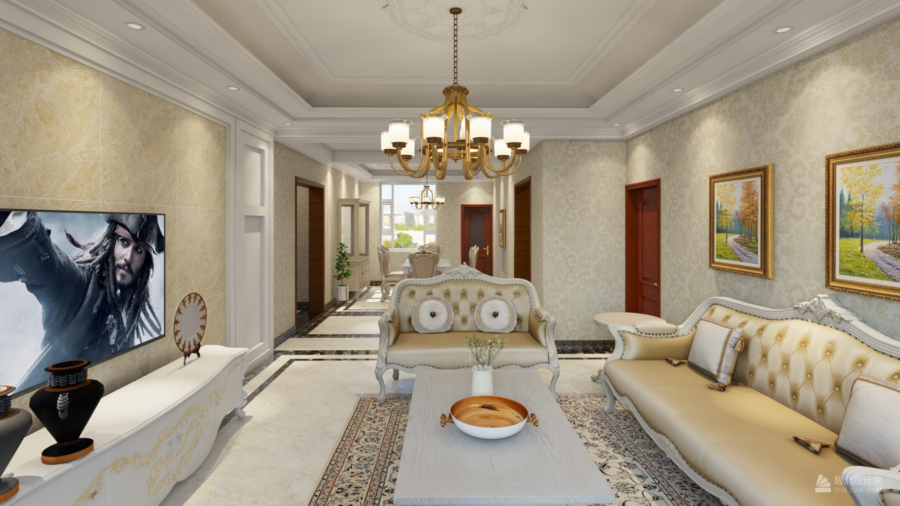 欧式风格三室一厅装修设计图