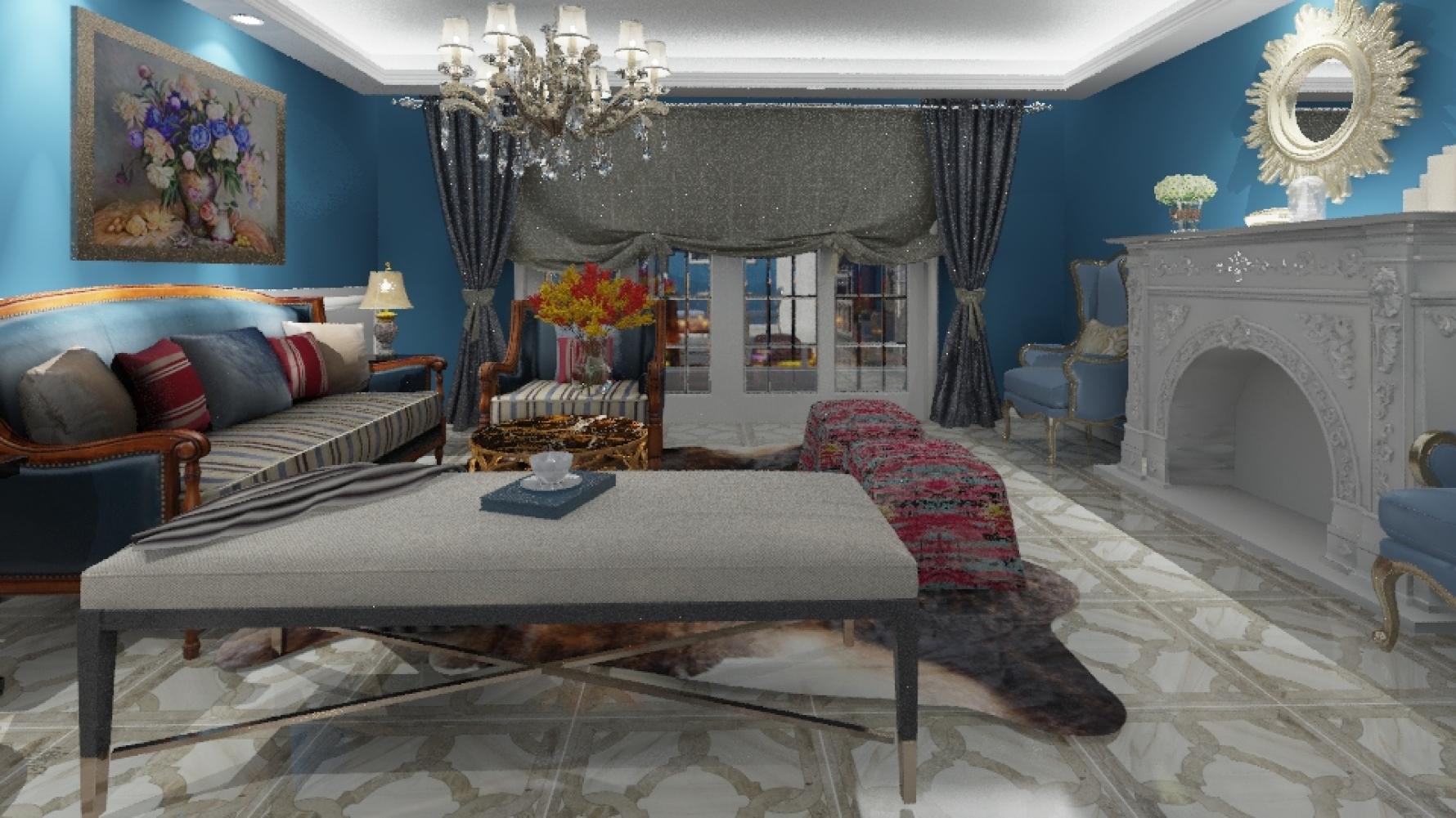 新古典风格三室一厅装修设计图