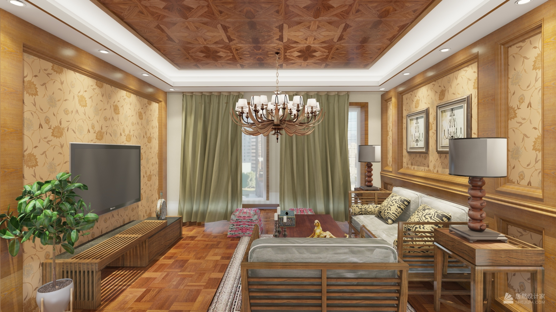东南亚风格三室两厅装修设计效果图