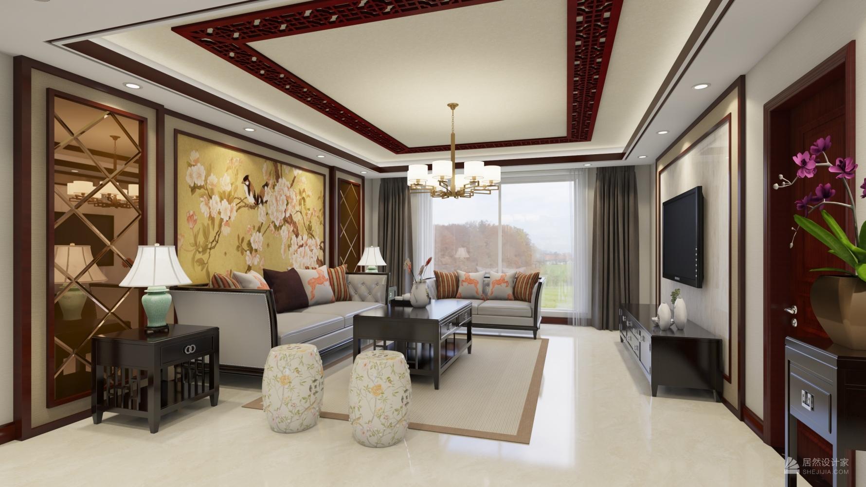中式风格四室一厅装修设计图