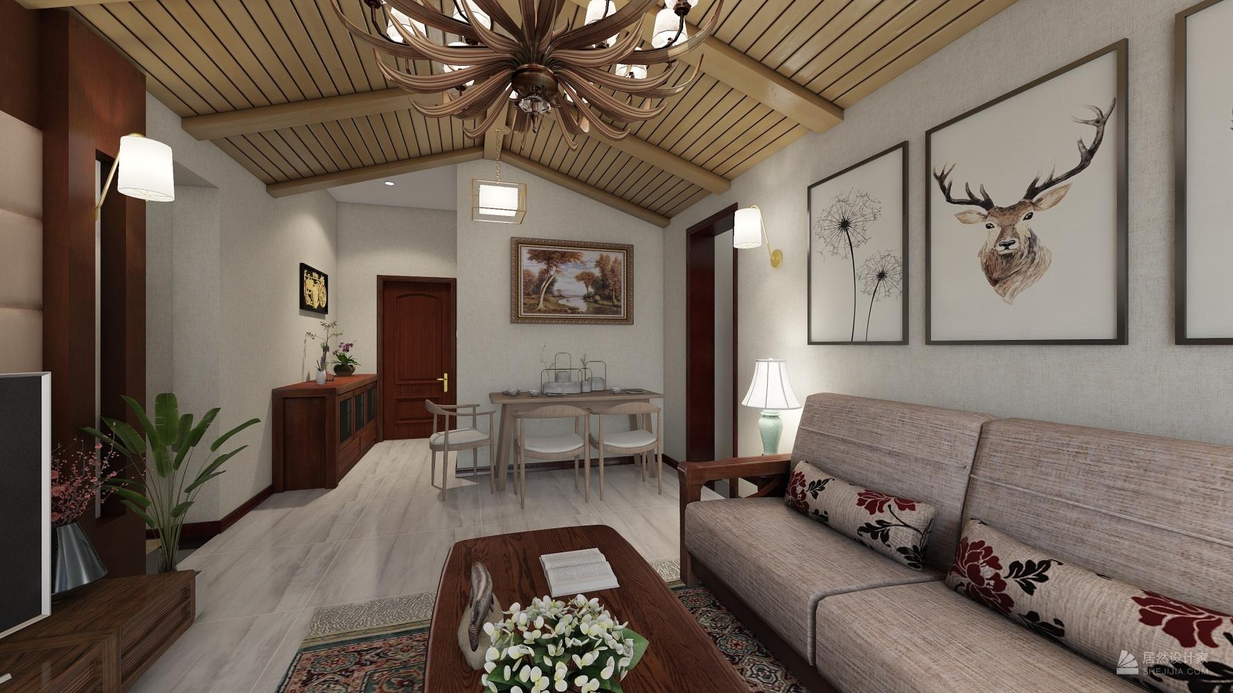 东南亚风格三室一厅装修设计图