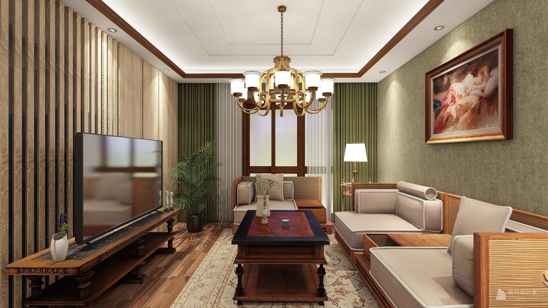 东南亚风格两室两厅装修设计图