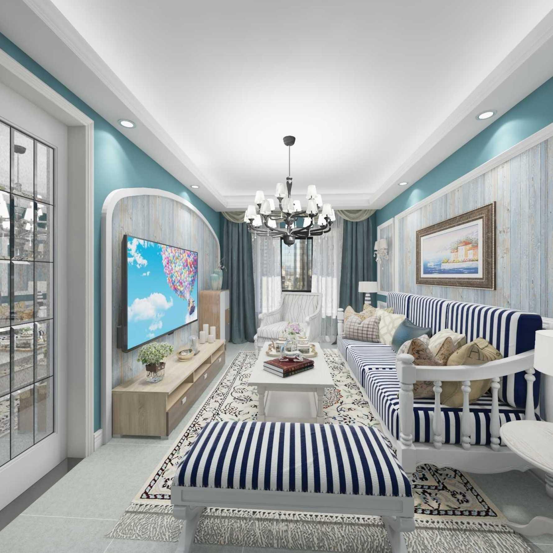 地中海风格一室一厅装修设计图