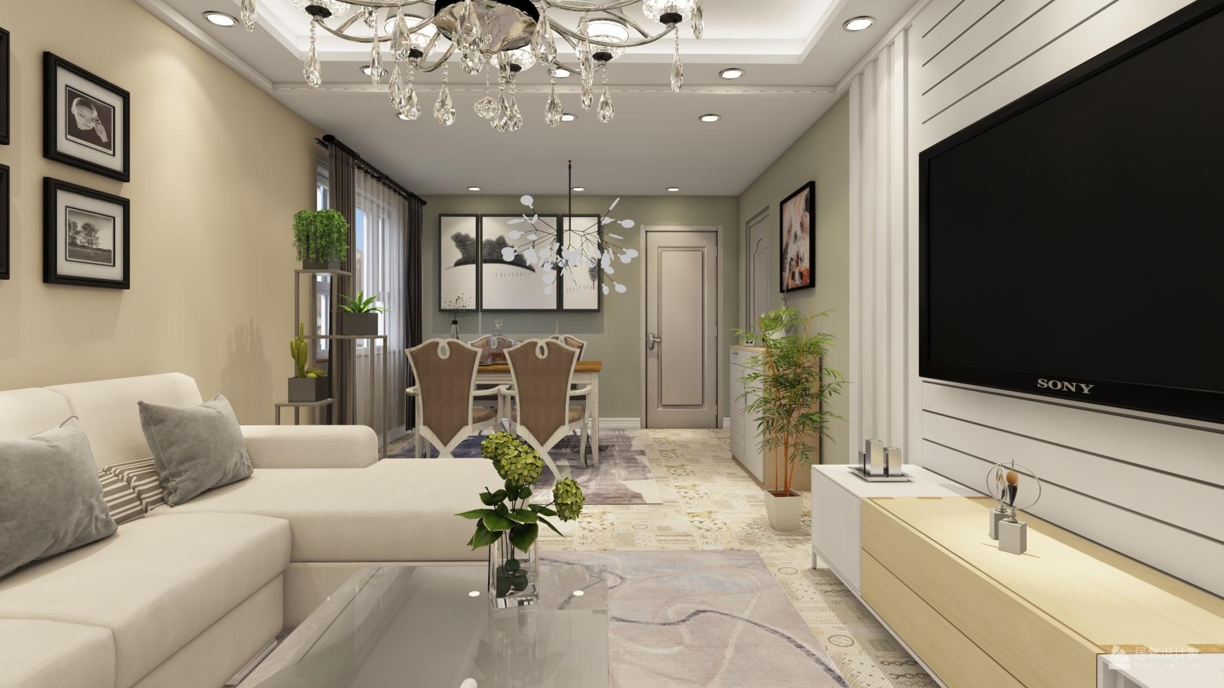 混搭风格一室两厅装修设计效果图