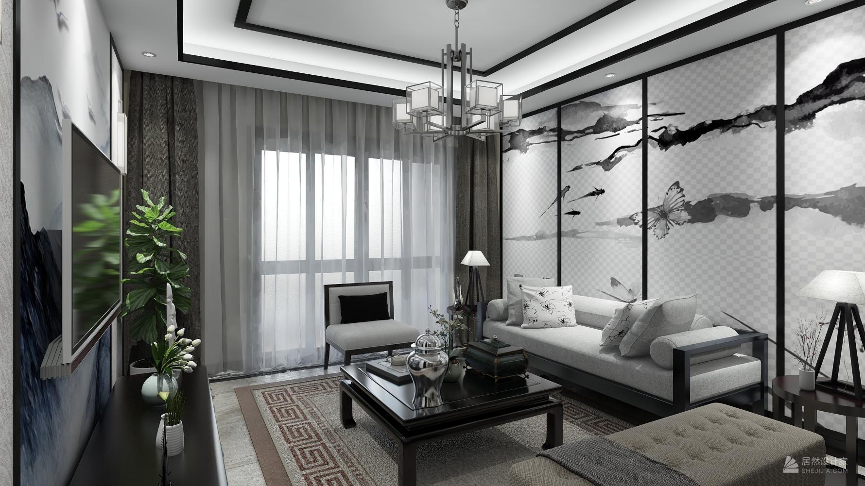 中式风格两室两厅装修设计效果图