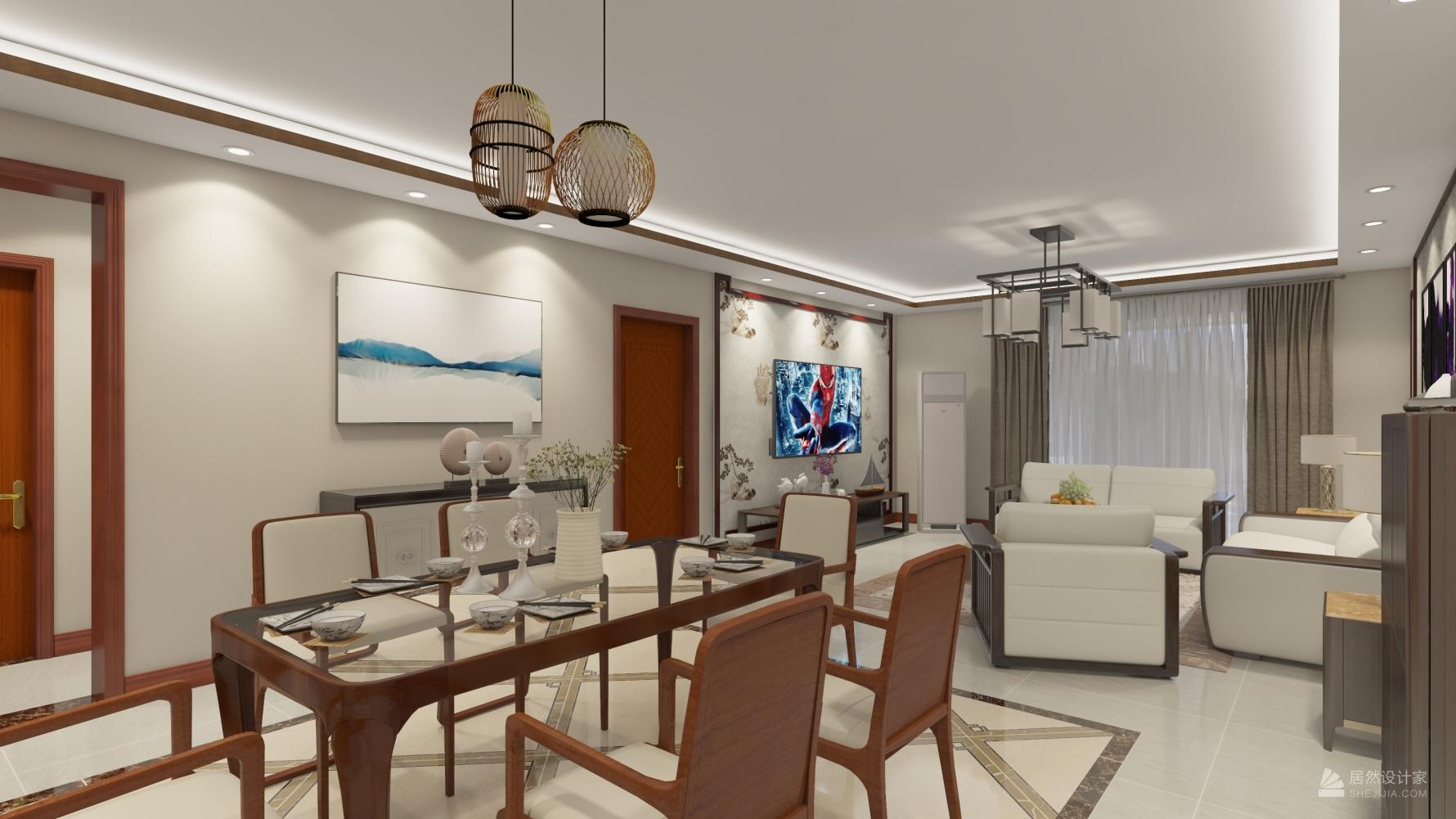 中式风格三室一厅装修设计效果图