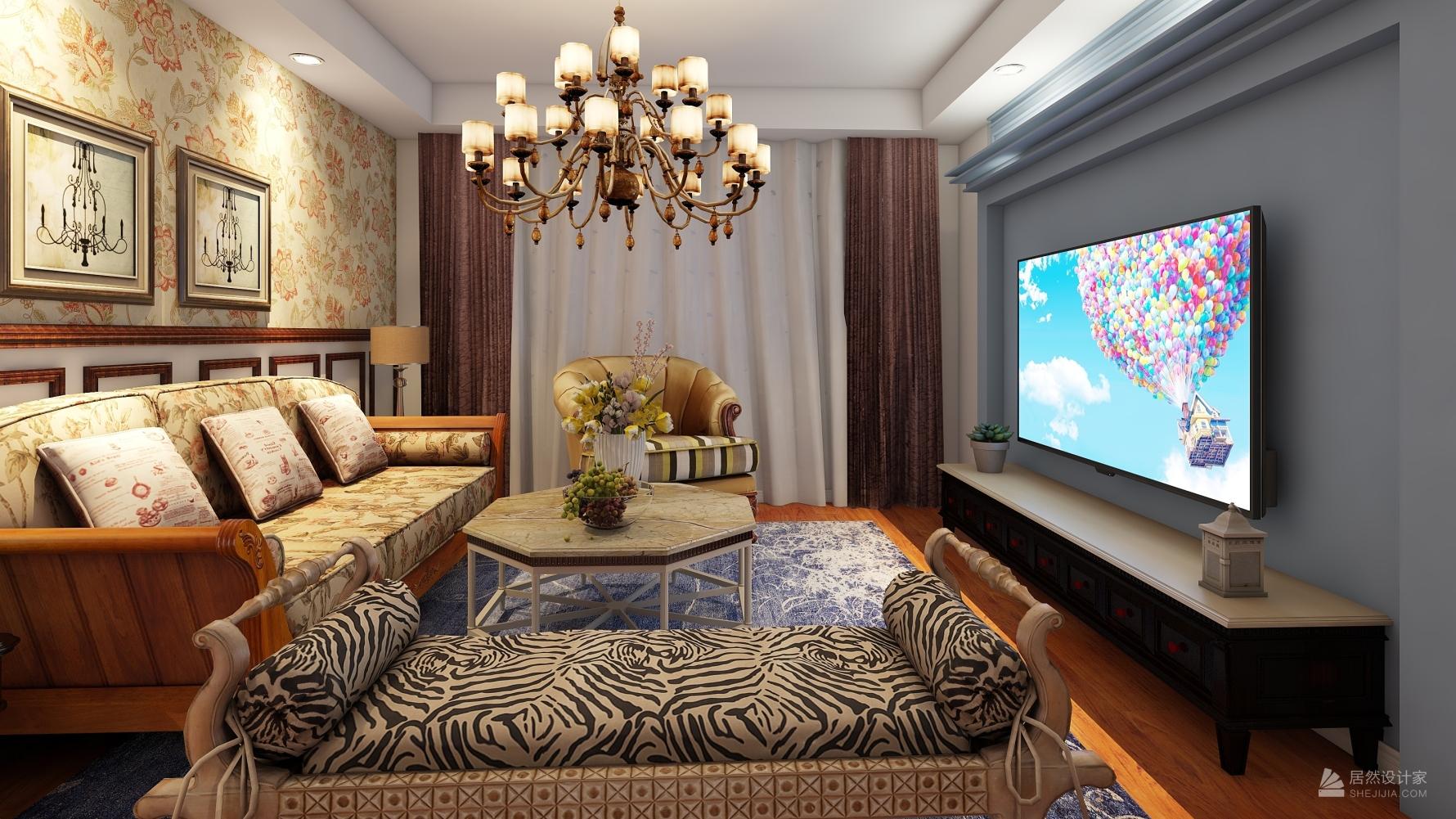美式风格两室一厅装修设计效果图