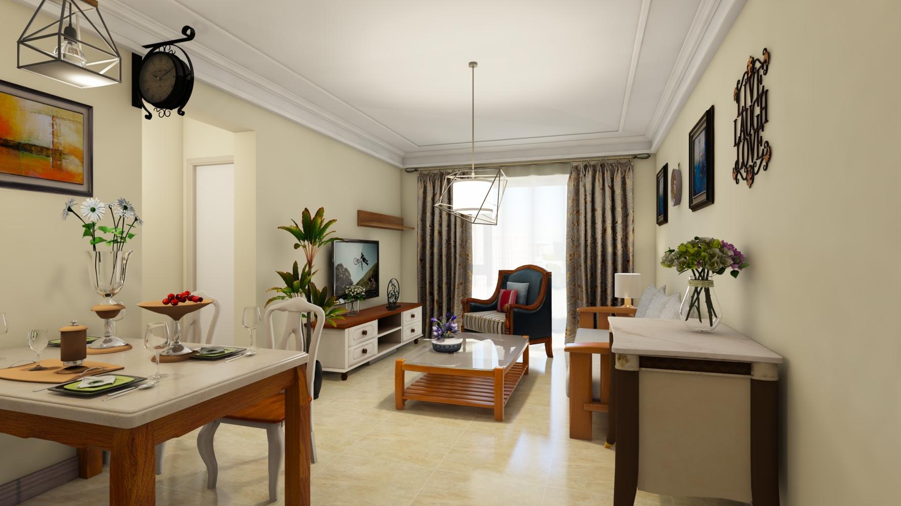 田园风格两室两厅装修设计图