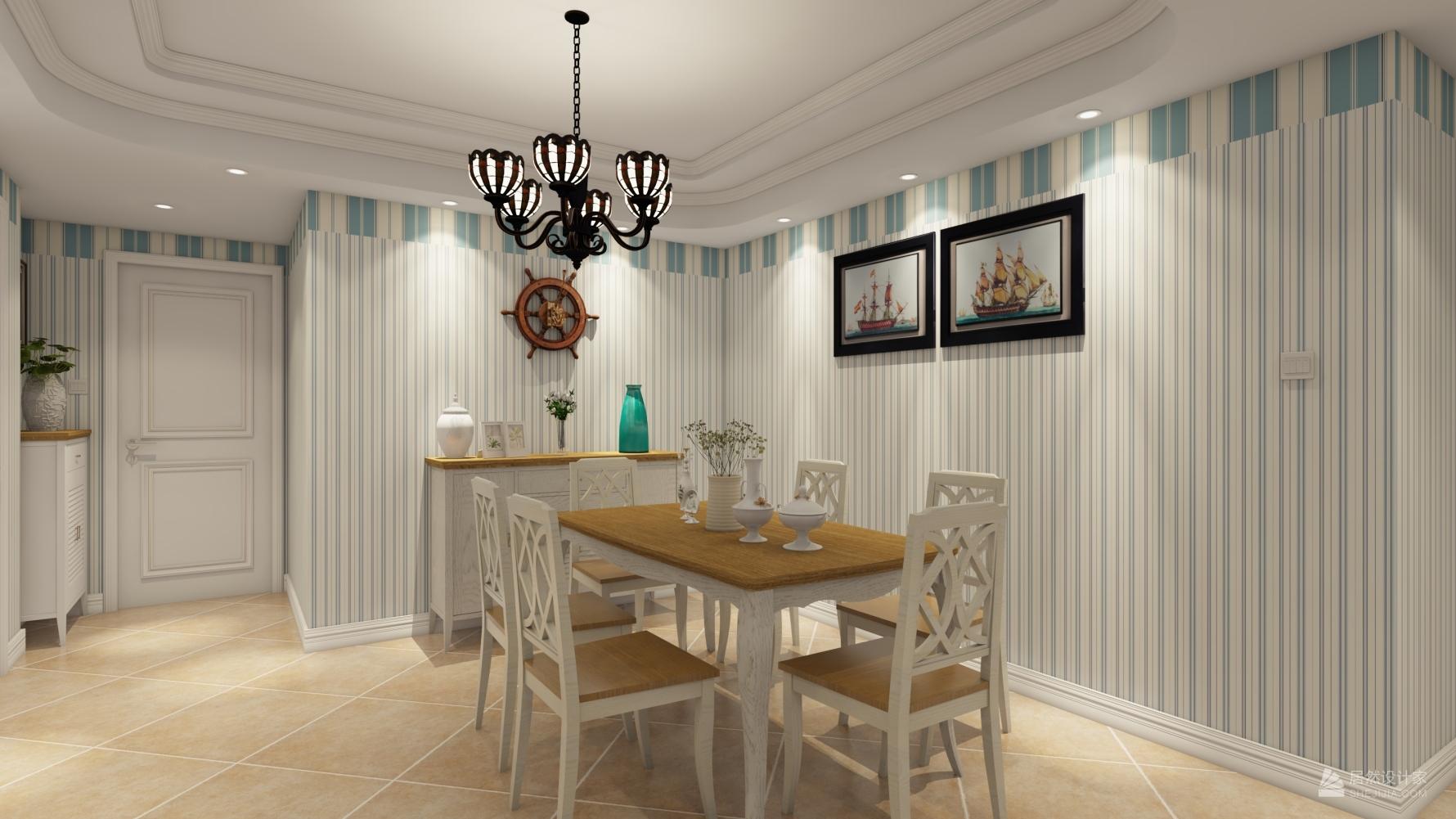 地中海风格三室一厅装修设计效果图