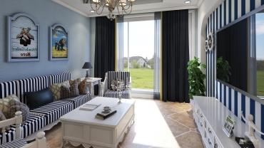 地中海风格一室一厅装修设计效果图