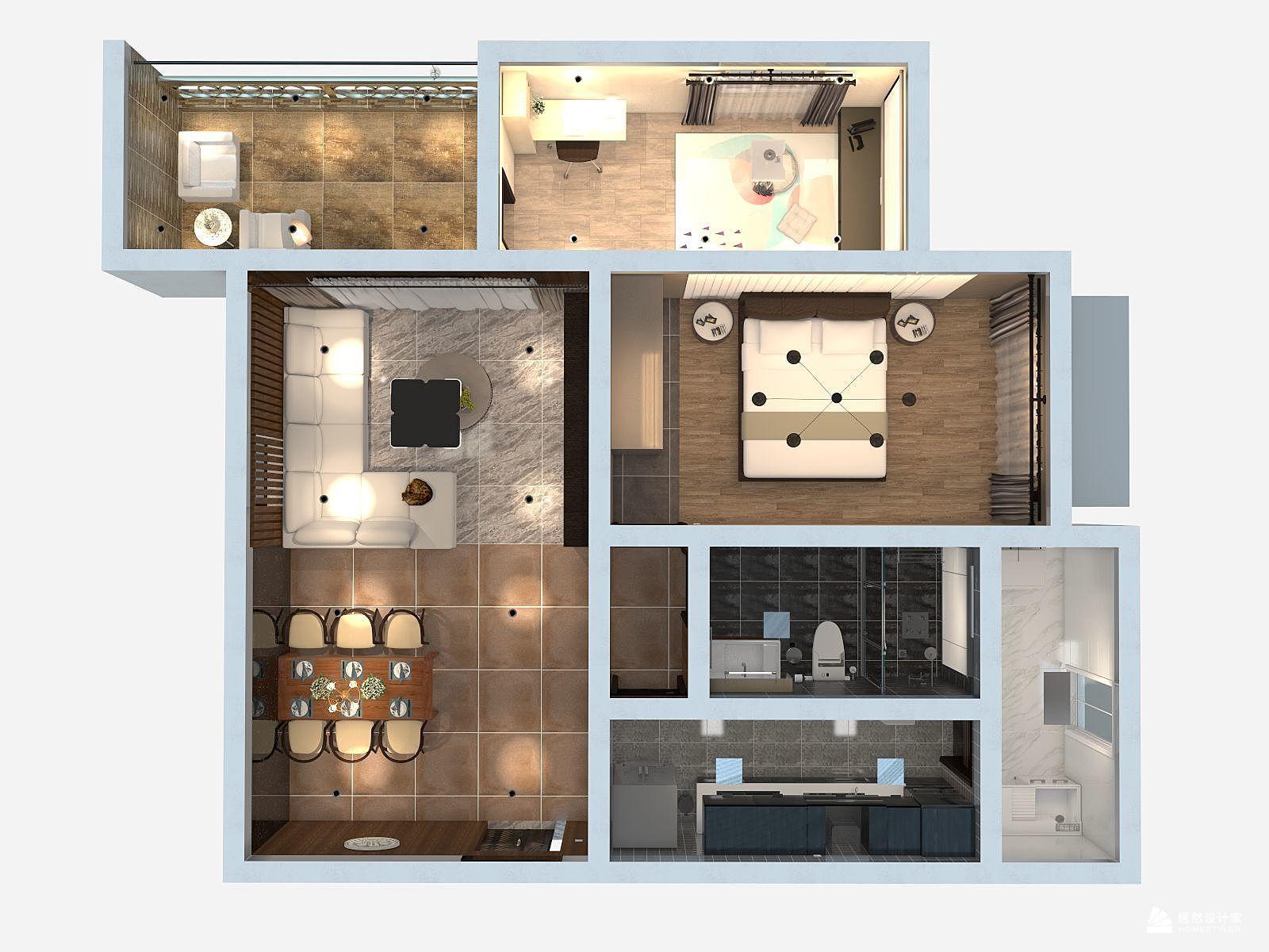 混搭风格两室一厅装修设计效果图