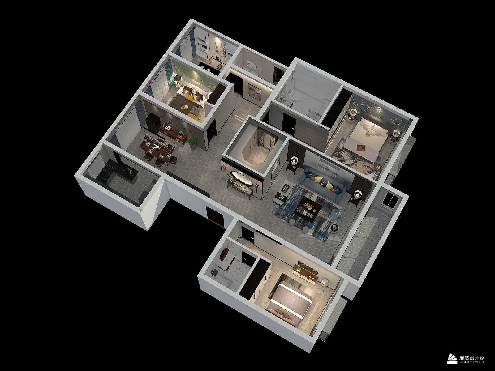 中式风格四室两厅装修设计效果图