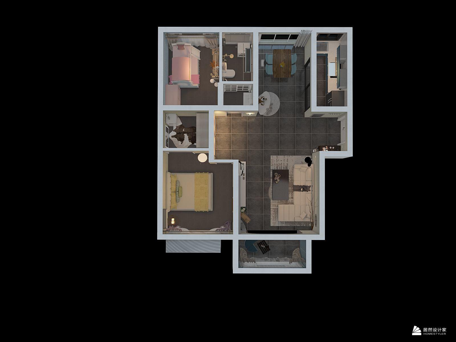 其它风格两室两厅装修设计效果图