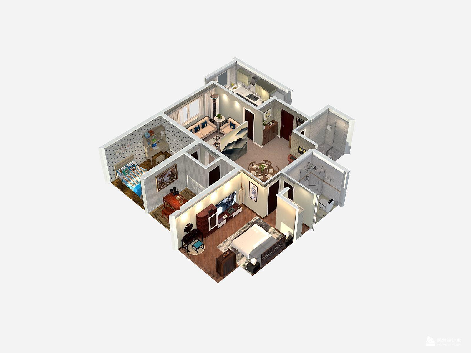 现代风格三室一厅装修设计效果图
