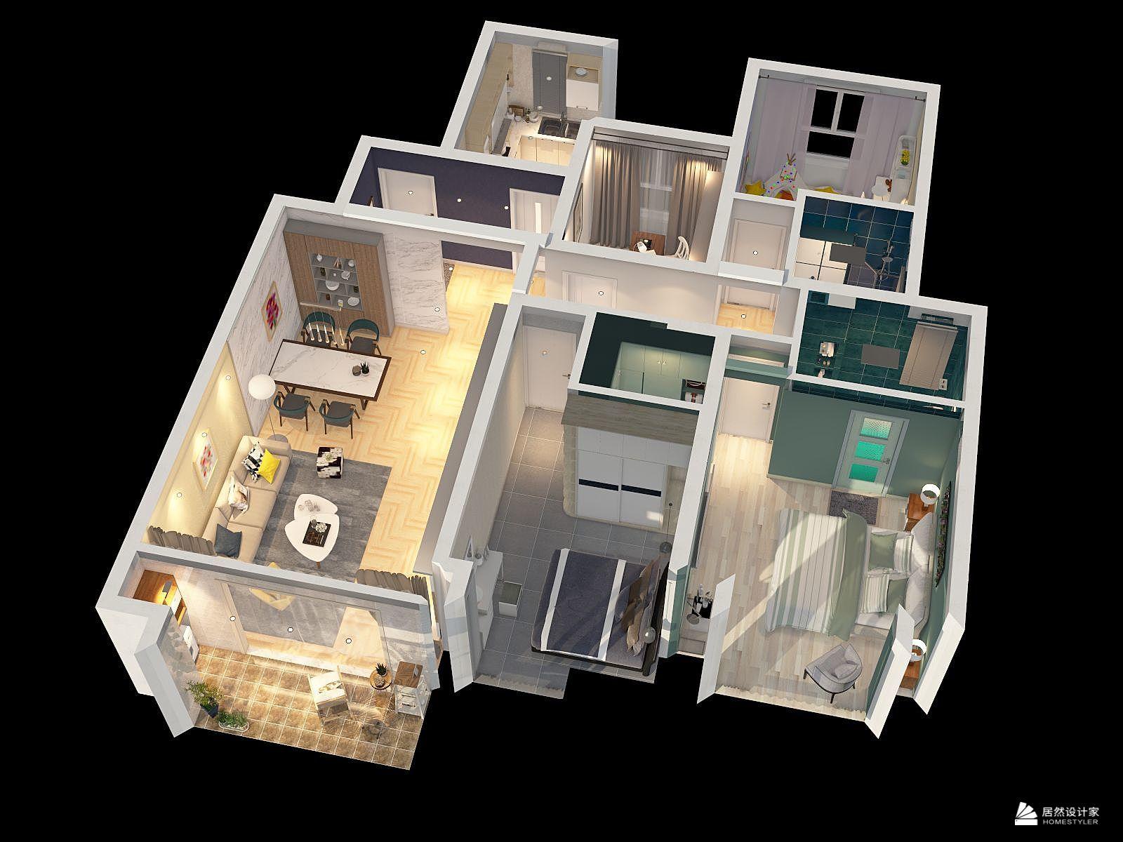 混搭风格四室一厅装修设计效果图
