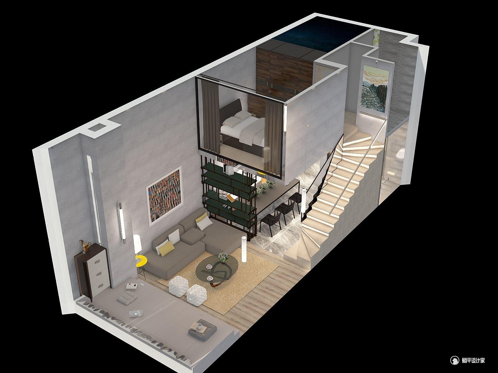 混搭风格两室两厅装修设计效果图