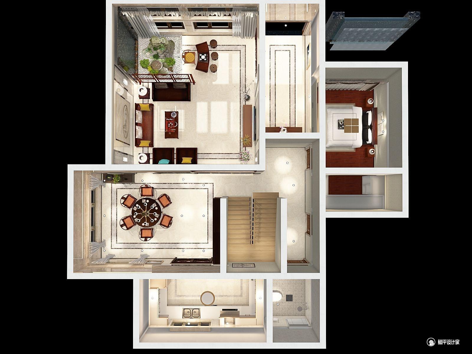 中式风格六室四厅装修设计效果图