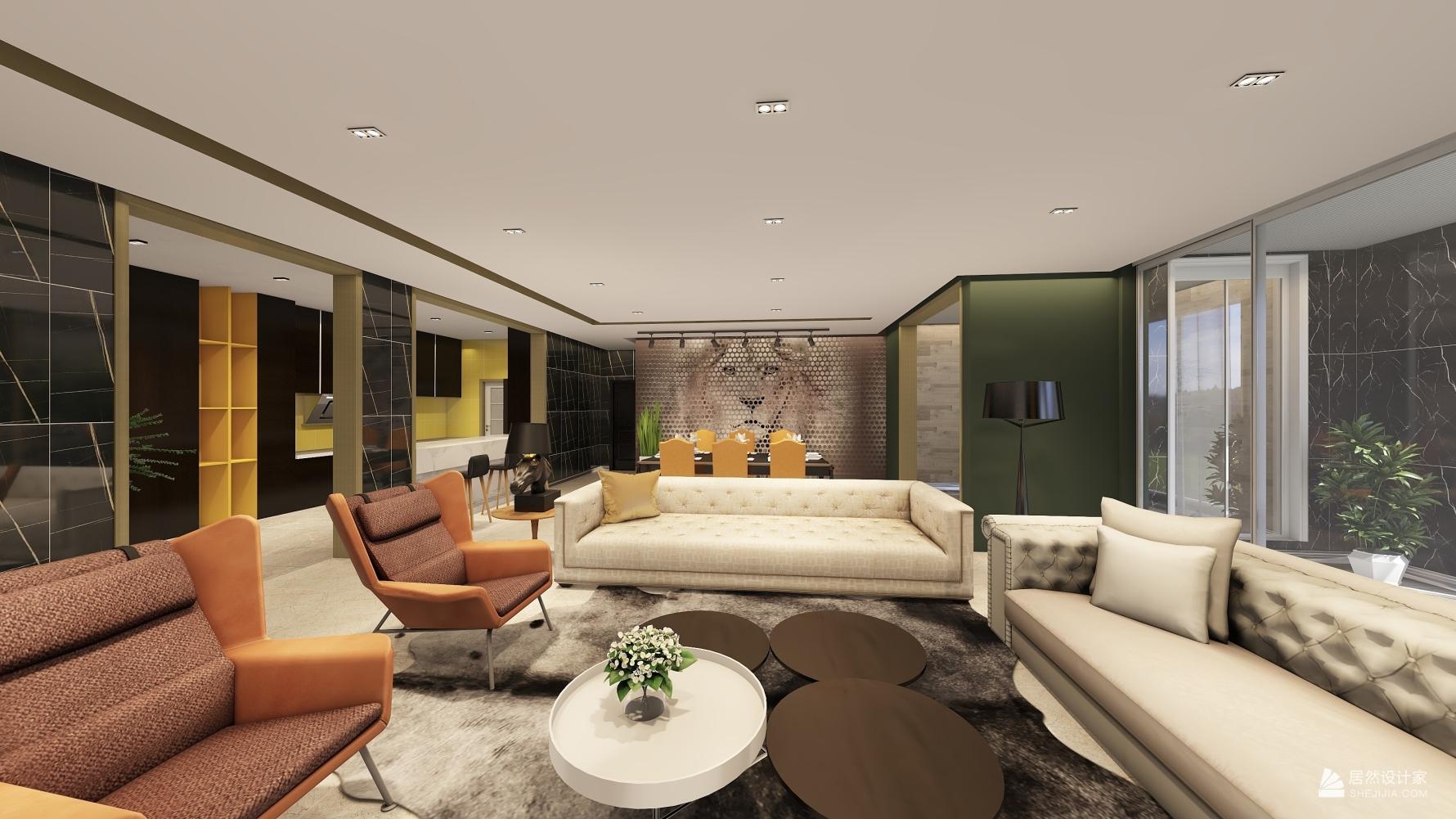混搭风格三室两厅装修设计图