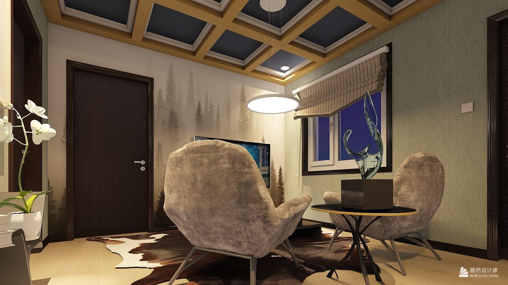 混搭风格两室一厅装修设计图