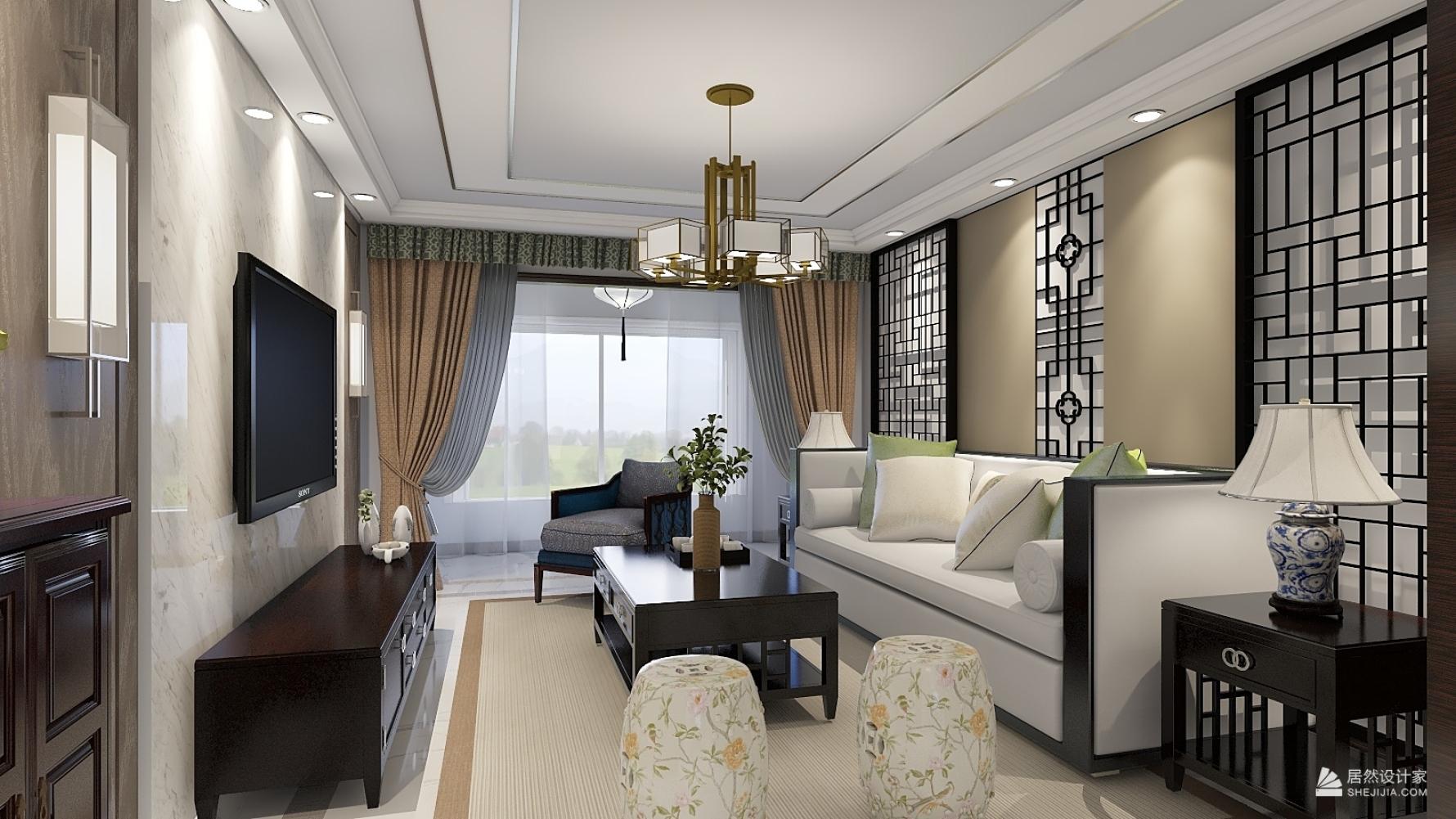 中式风格两室一厅装修设计图