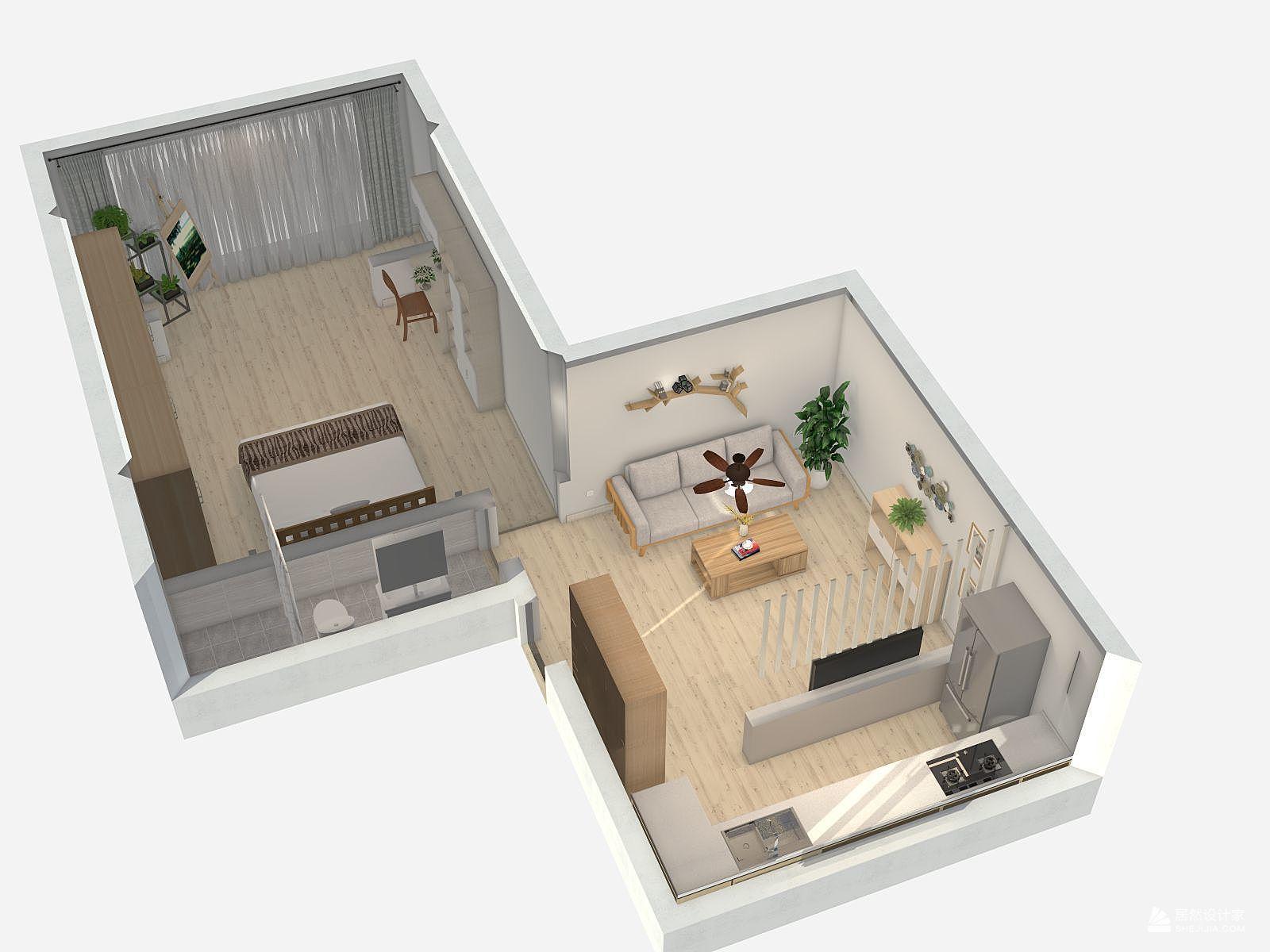 日式风格一室一厅装修设计效果图