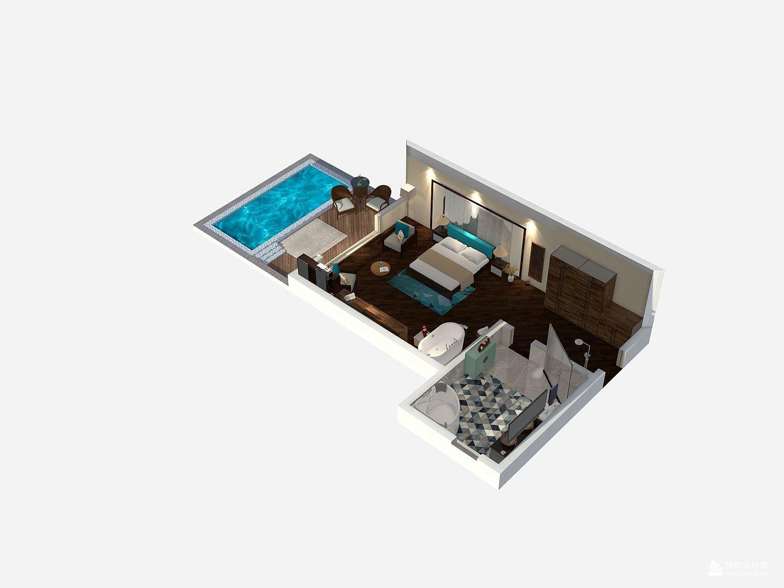 东南亚风格一室一厅装修设计效果图