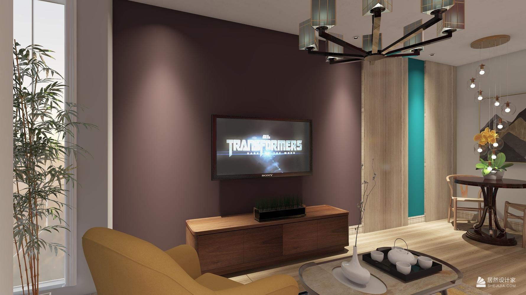 混搭风格一室一厅装修设计图
