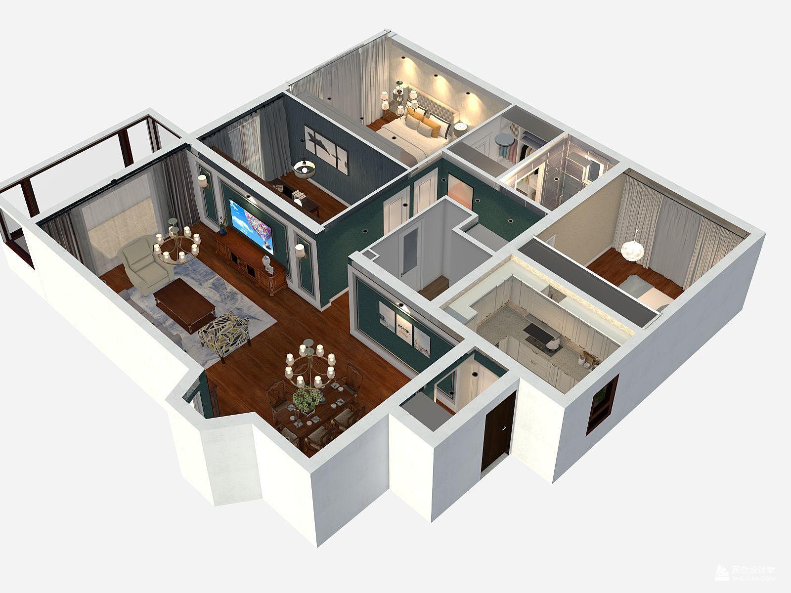 欧式风格三室一厅装修设计效果图