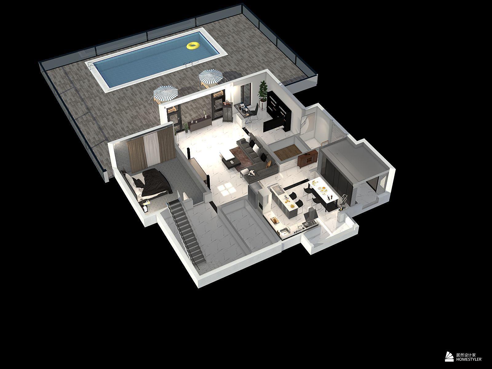 现代风格一室三厅装修设计效果图