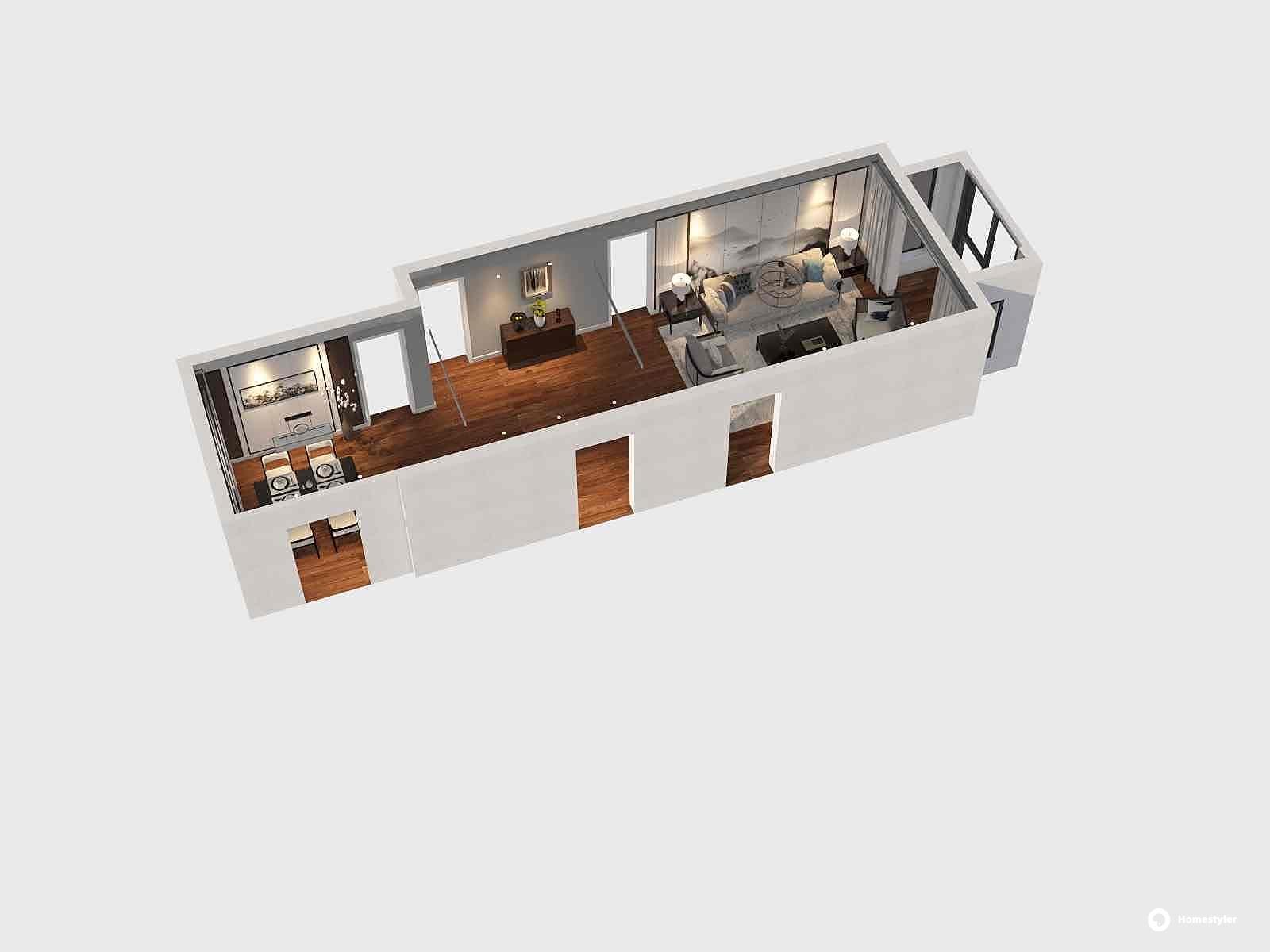 新古典风格一室一厅装修设计效果图
