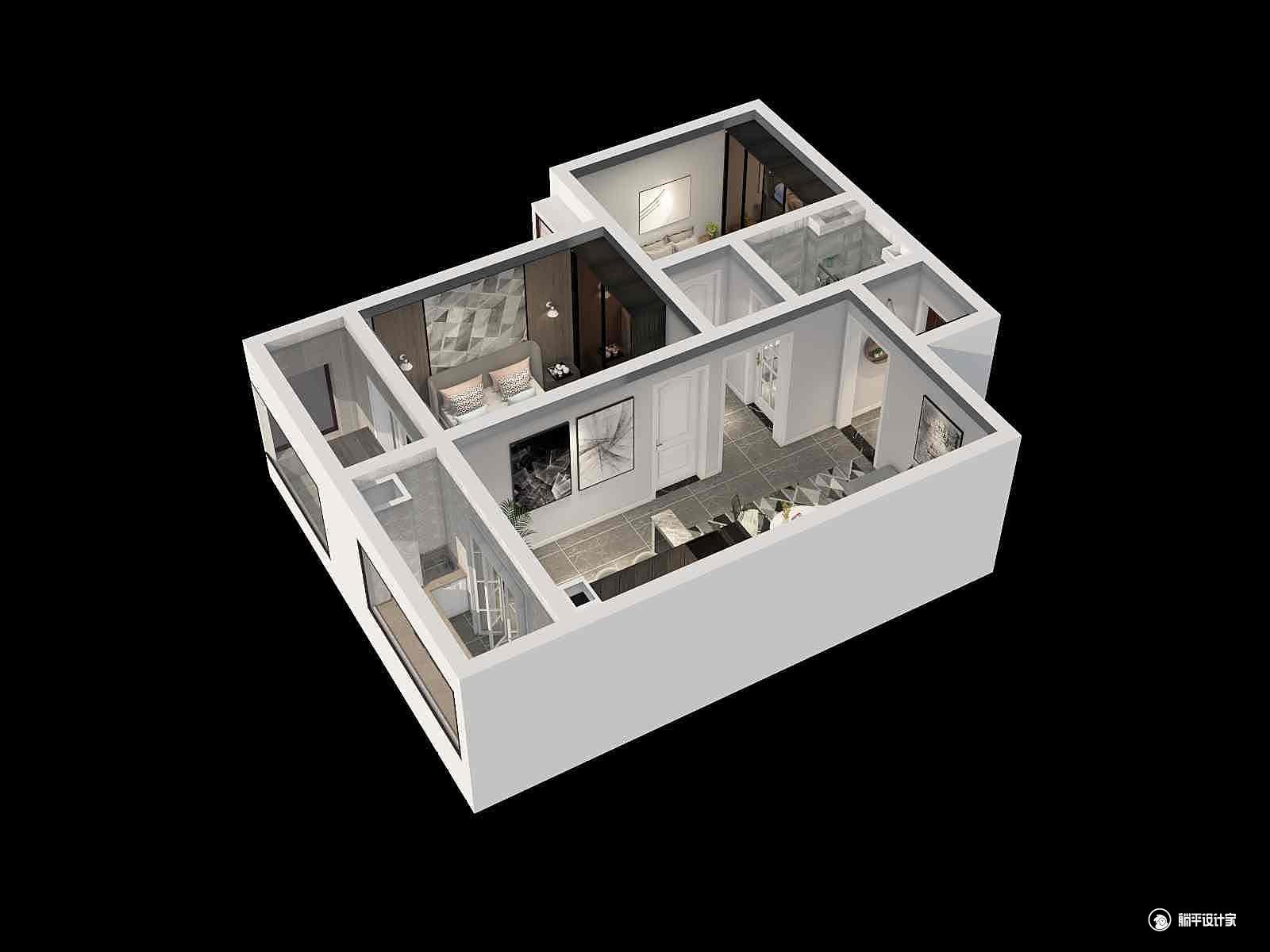 现代风格两室两厅装修设计效果图