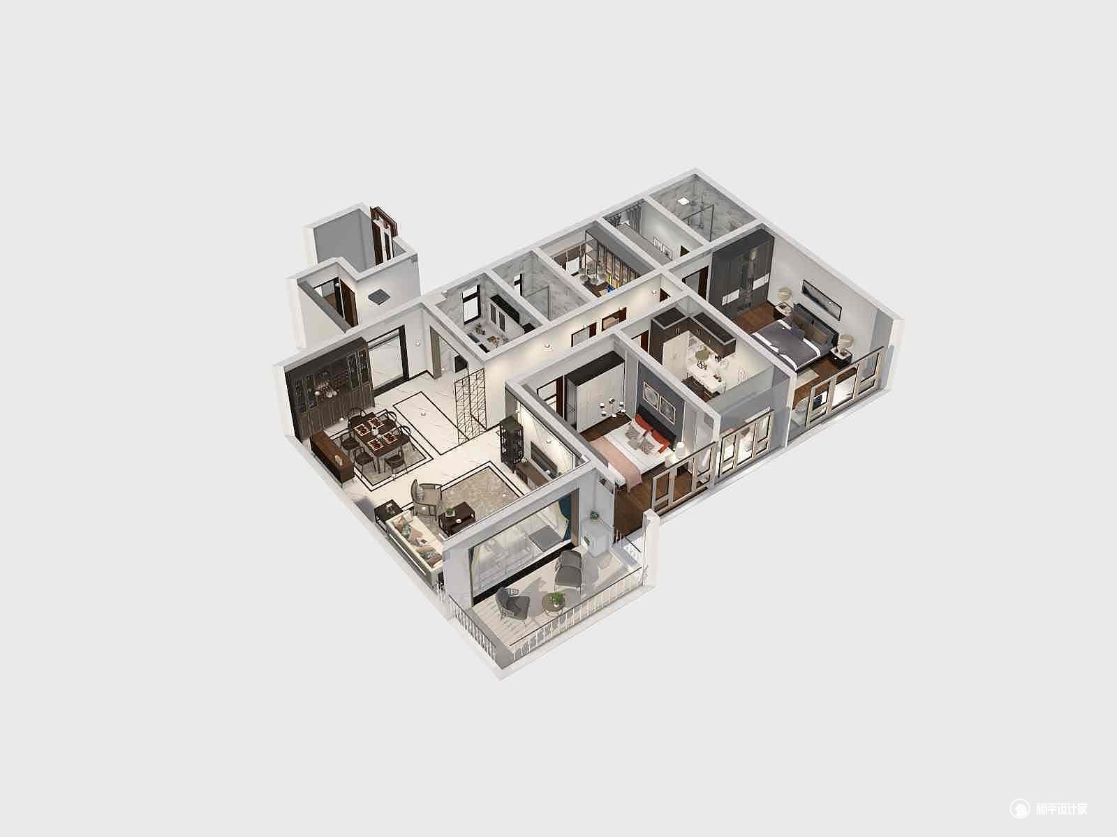 混搭风格四室两厅装修设计效果图