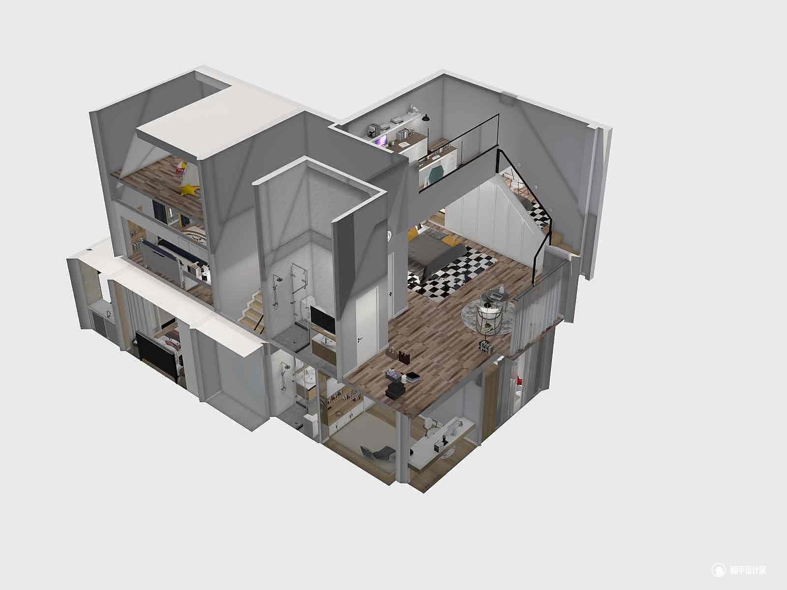 现代风格四室一厅装修设计效果图