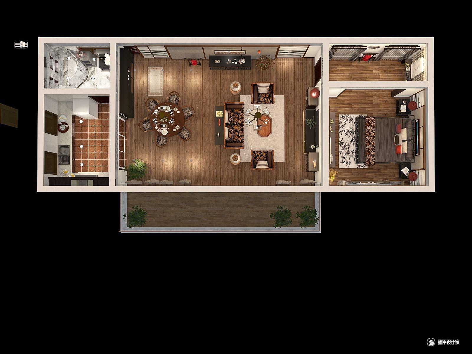 中式风格一室两厅装修设计效果图