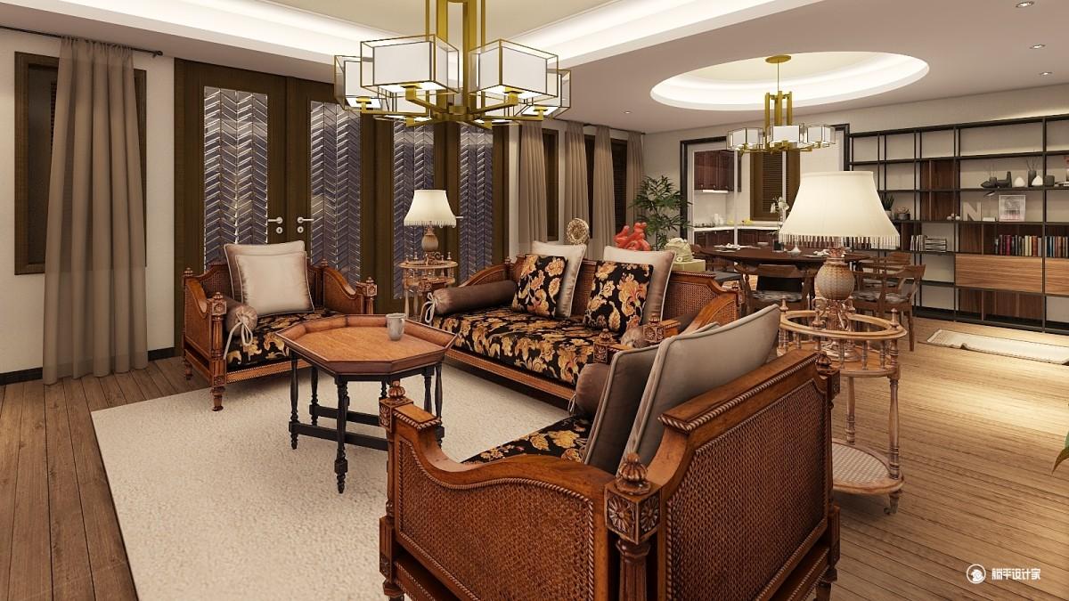中式风格一室两厅装修设计图