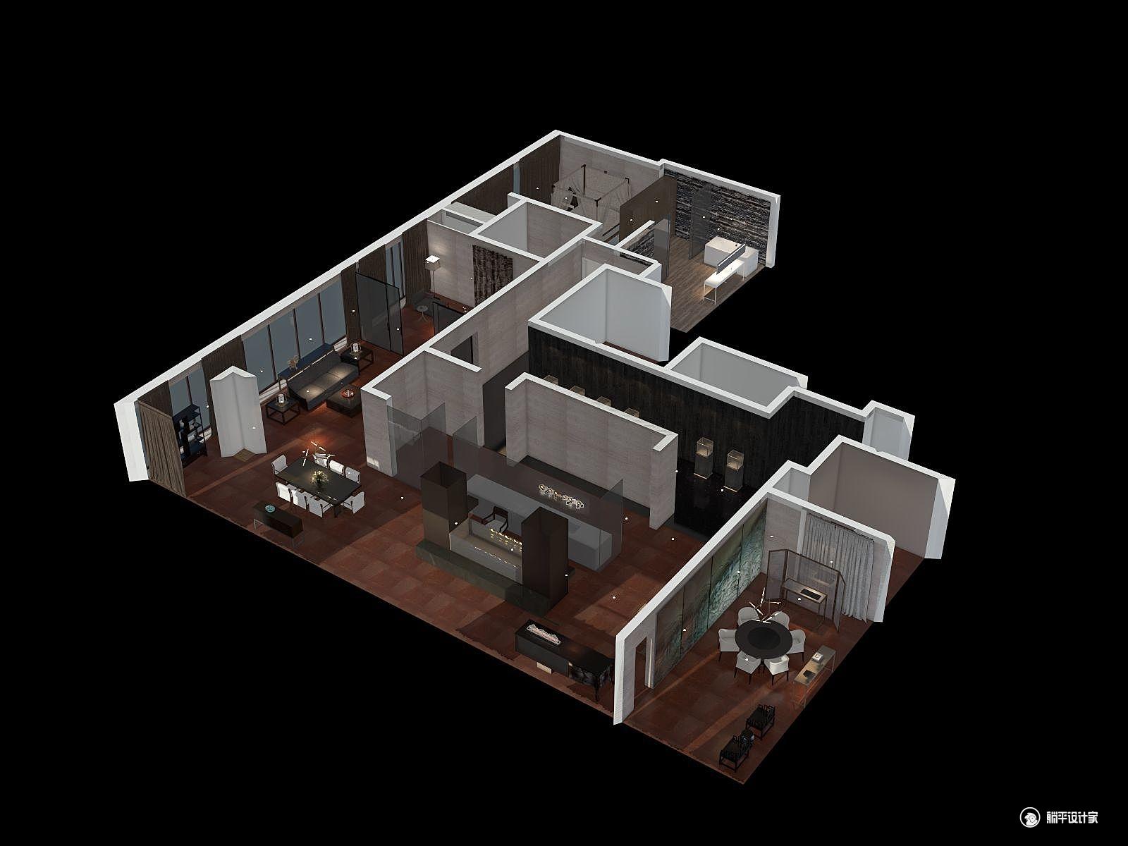 中式风格三室三厅装修设计效果图