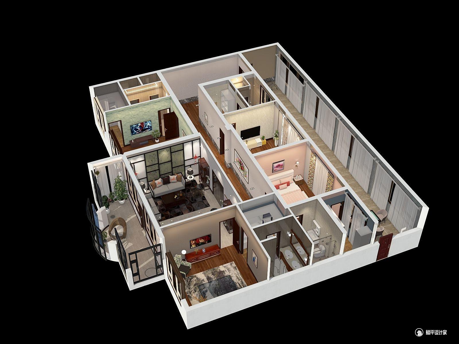 中式风格四室一厅装修设计效果图