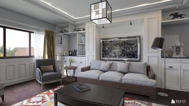 美式风格三室一厅装修设计效果图