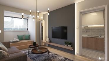 现代风格两室一厅装修设计效果图