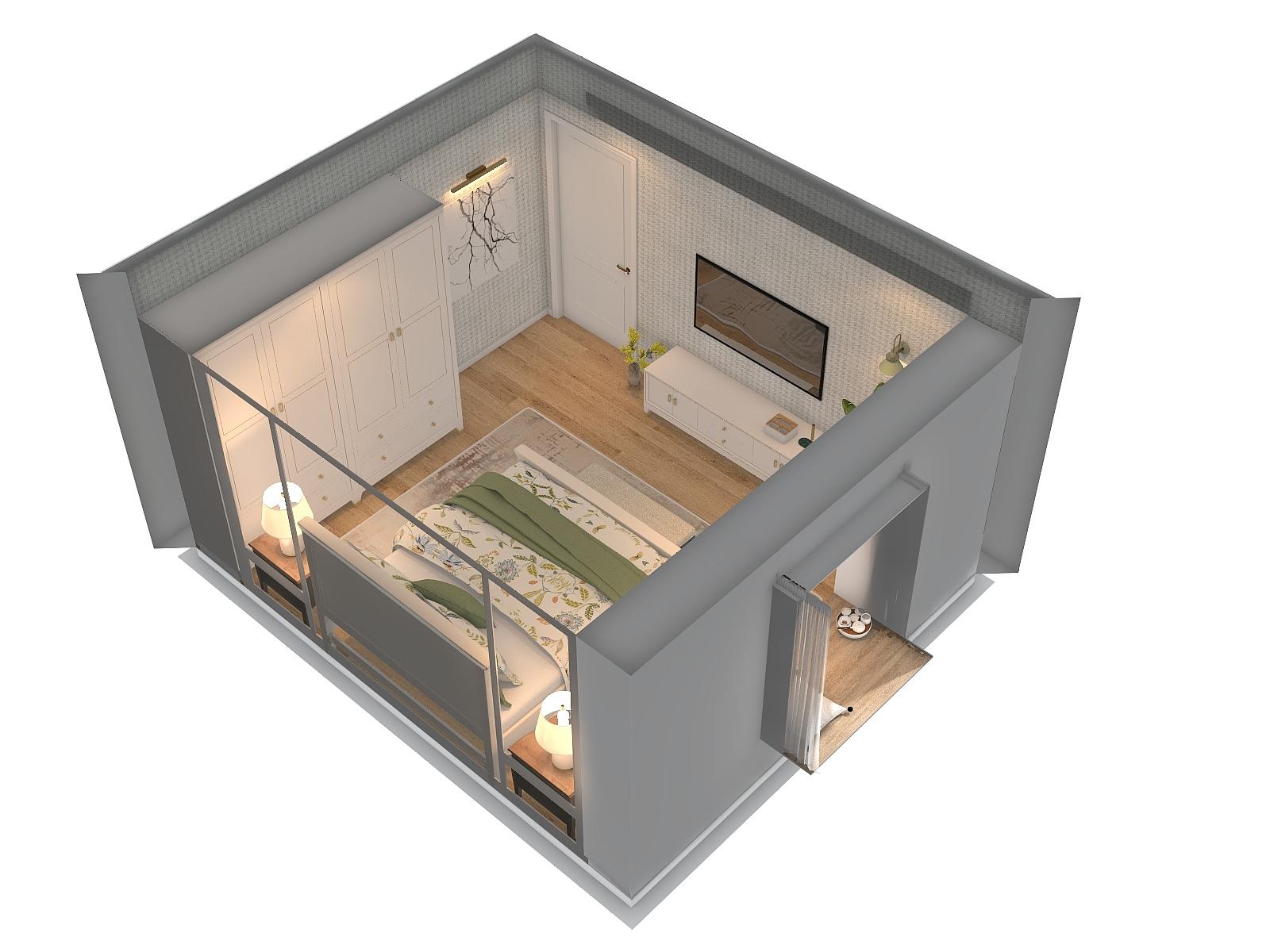 美式风格一室装修设计效果图