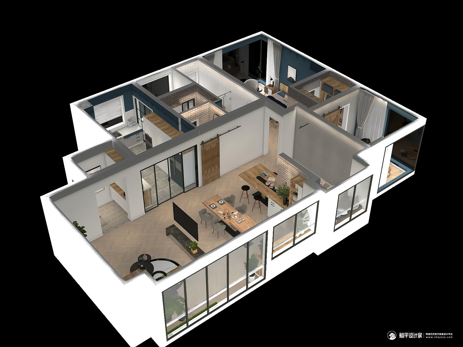 混搭风格三室一厅装修设计效果图