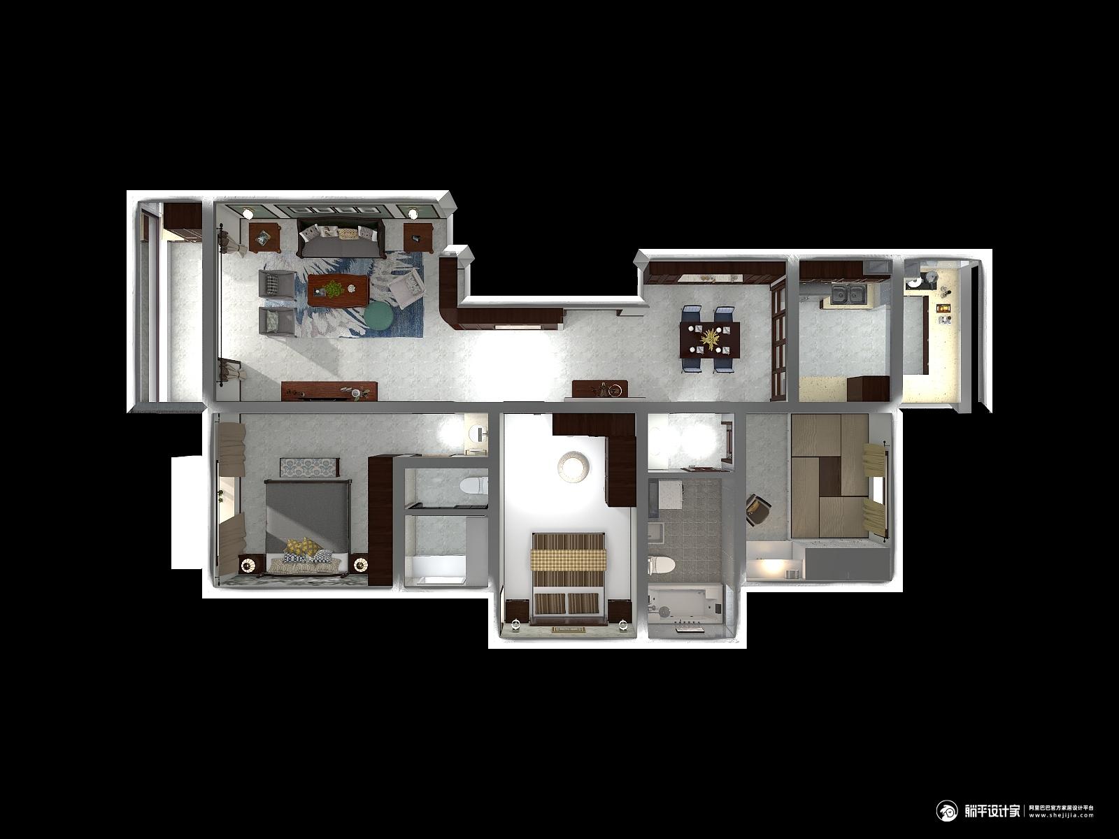 中式风格三室两厅装修设计效果图