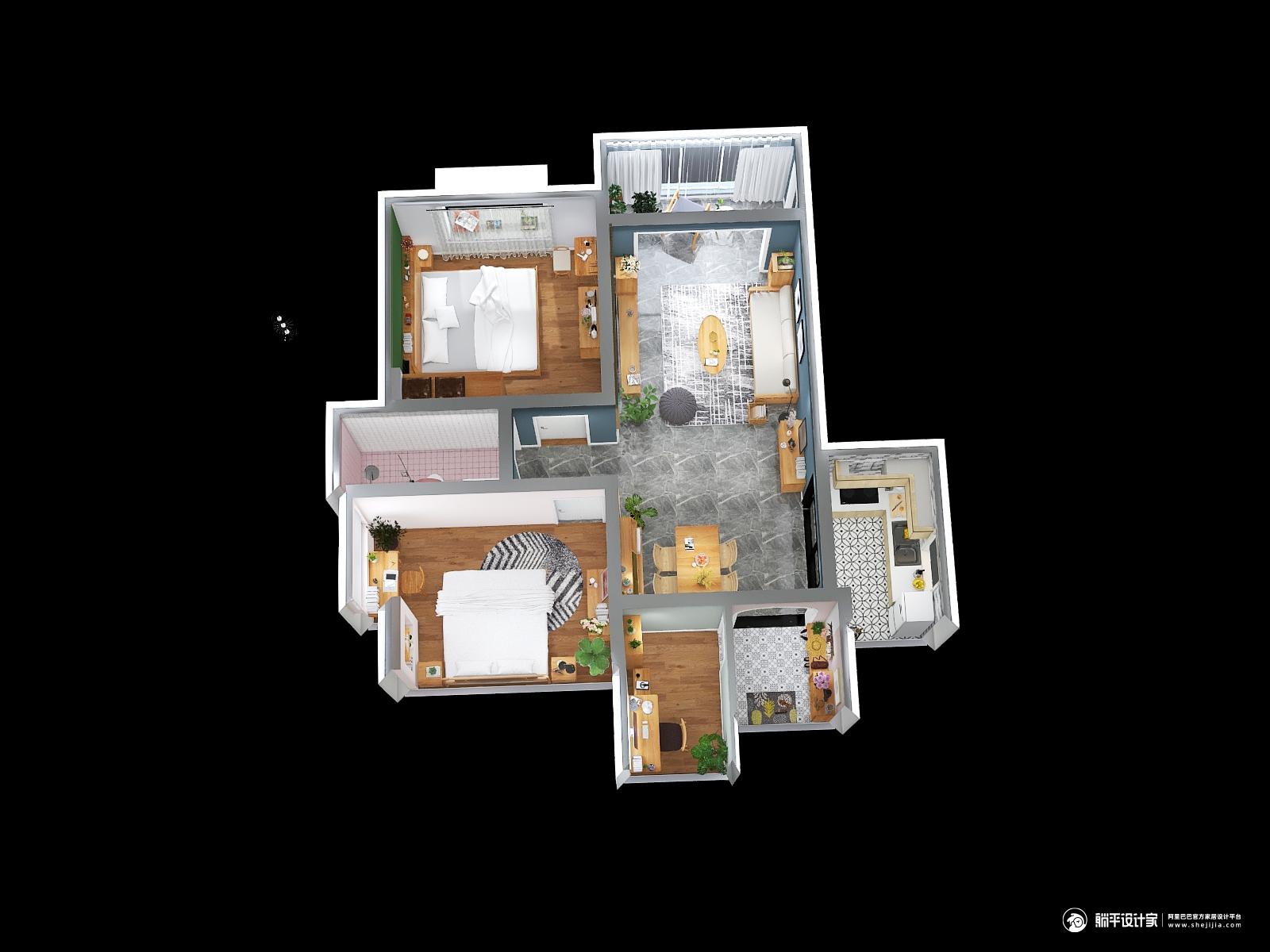 北欧风格三室一厅装修设计效果图