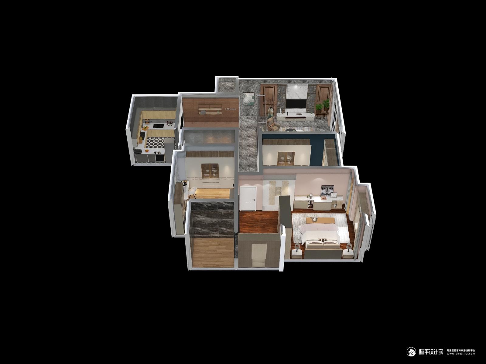 现代风格三室两厅装修设计效果图