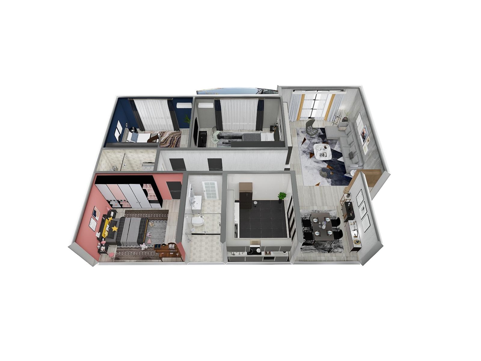 北欧风格三室两厅装修设计效果图
