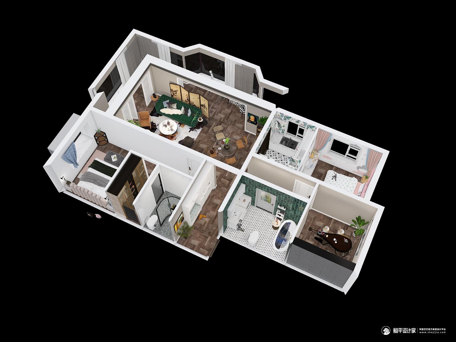 混搭风格三室三厅装修设计效果图