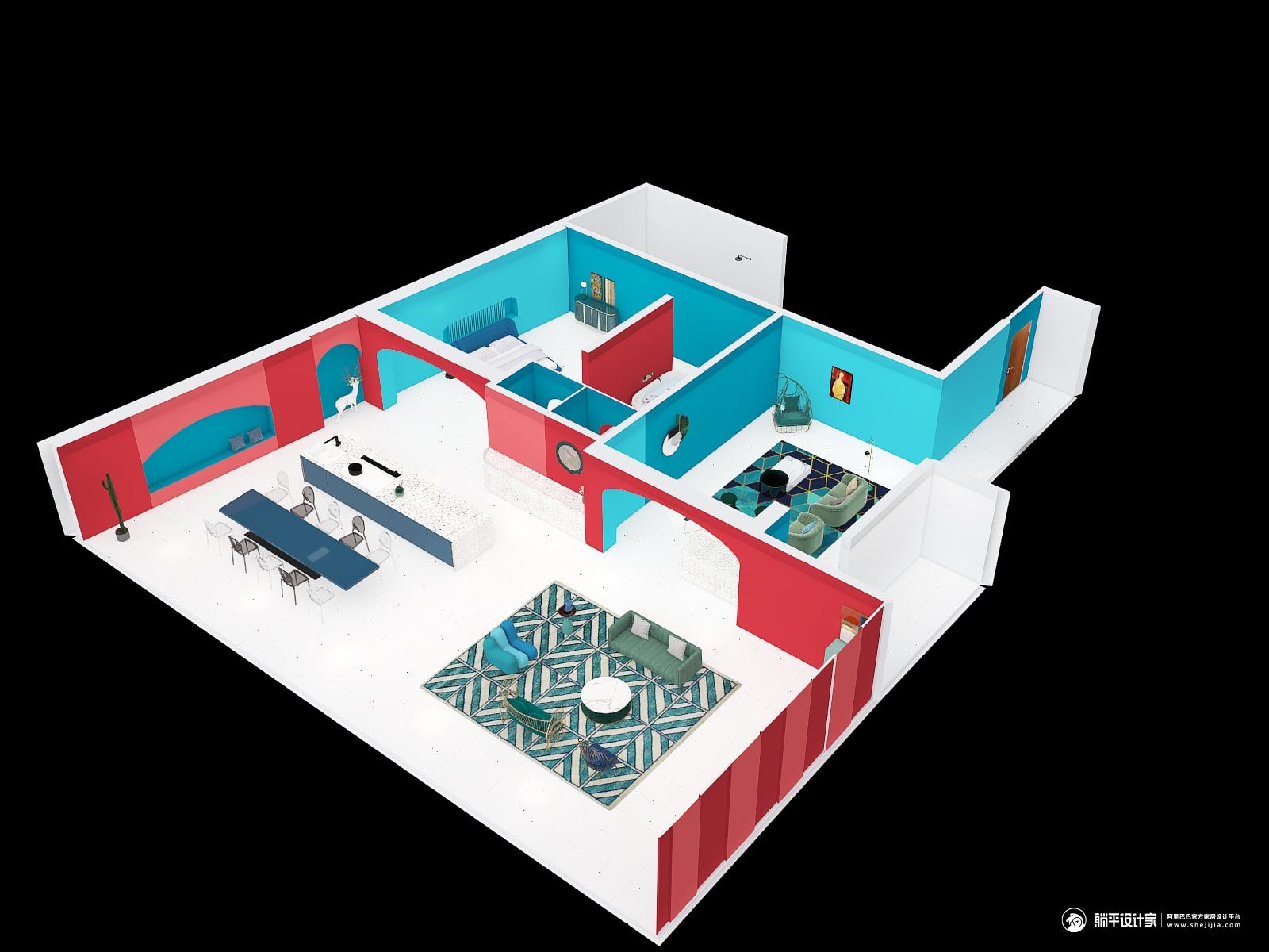 地中海风格两室两厅装修设计效果图