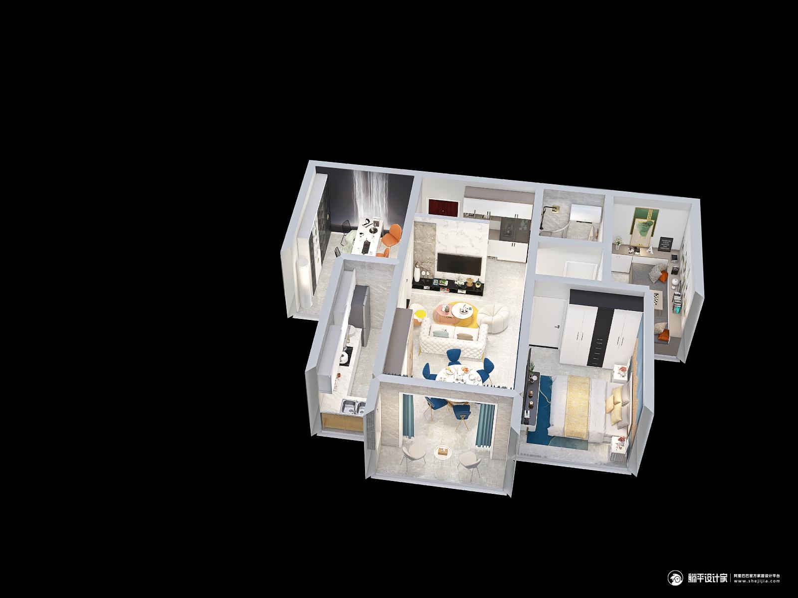 现代风格三室三厅装修设计效果图